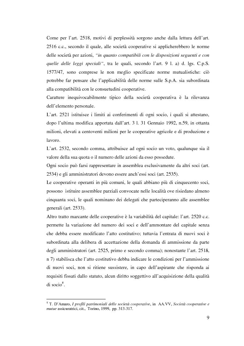 Anteprima della tesi: I ristorni nelle società cooperative: aspetti giuridici e economici, Pagina 9