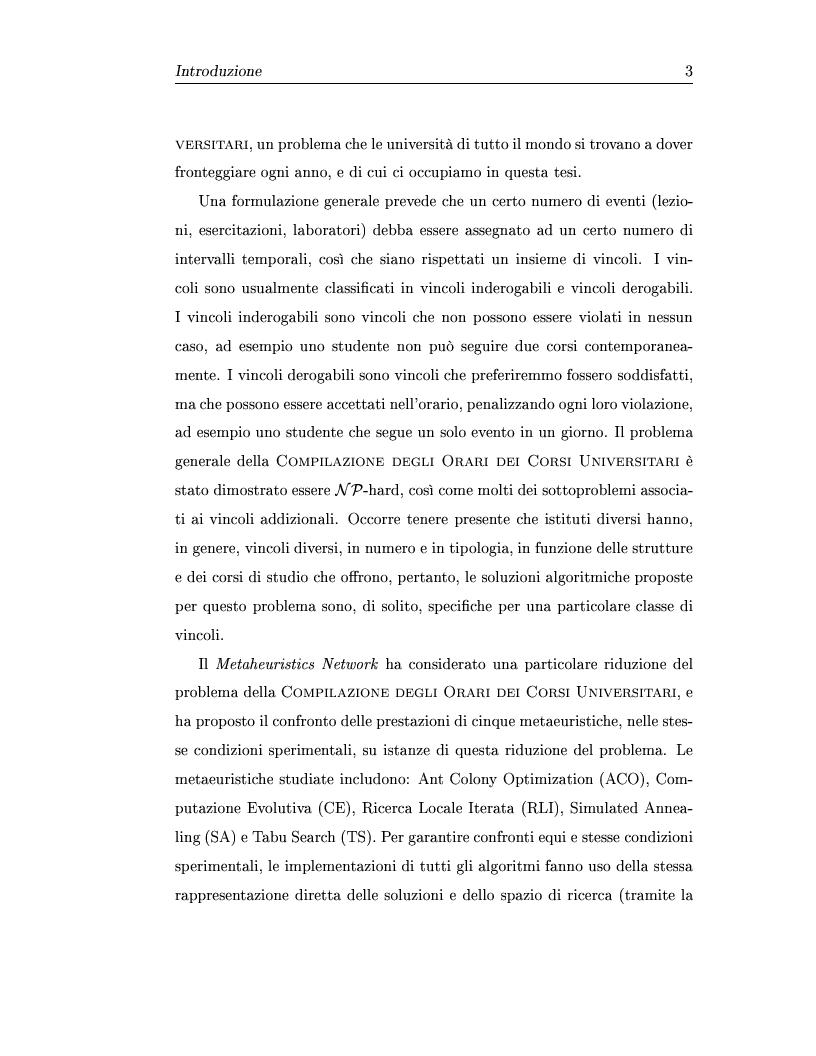 Anteprima della tesi: Metaeuristiche per la costruzione degli orari dei corsi universitari, Pagina 3