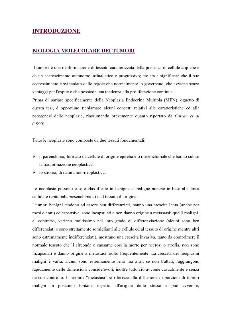 Anteprima della tesi: Parziale caratterizzazione del gene men1 nel gatto, Pagina 1