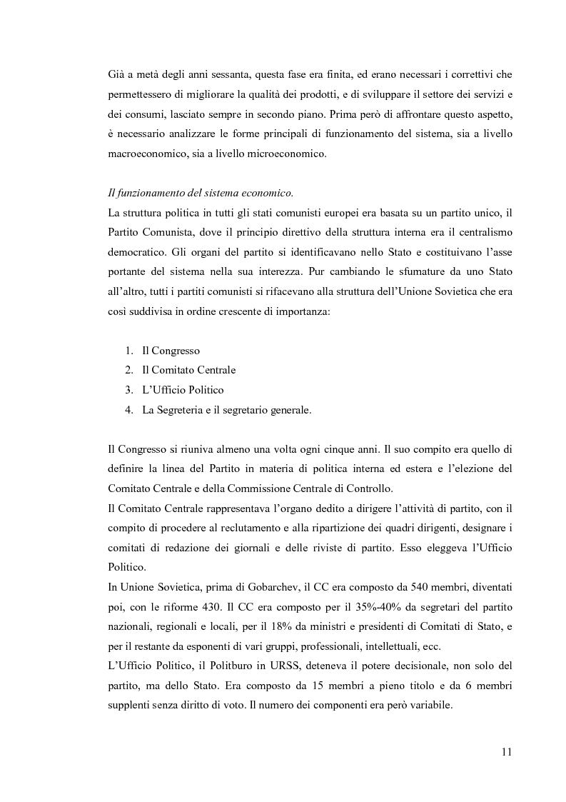 Anteprima della tesi: Le economie di transizione nel passaggio da piano a mercato: il caso della Romania, Pagina 7