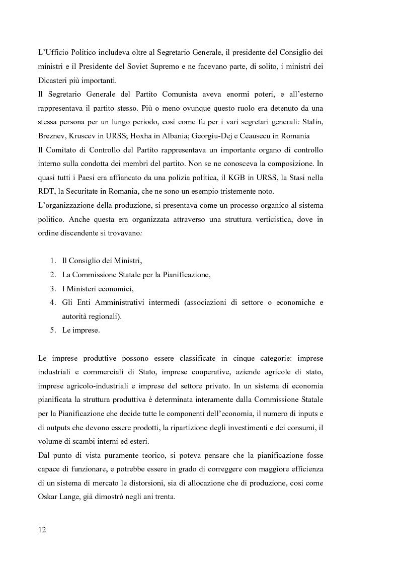 Anteprima della tesi: Le economie di transizione nel passaggio da piano a mercato: il caso della Romania, Pagina 8