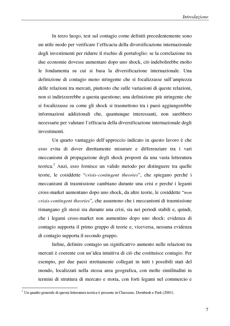 Anteprima della tesi: Contagio e interdipendenza nei mercati finanziari: aspetti metodologici ed evidenza empirica, Pagina 3