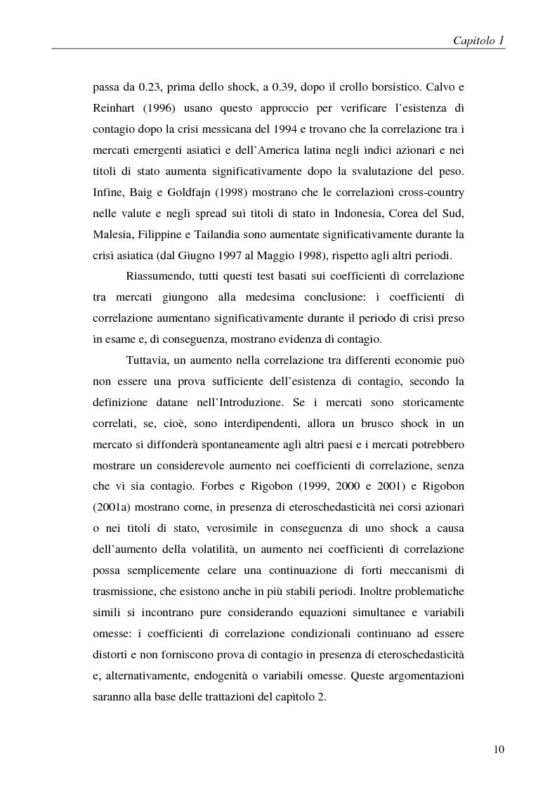 Anteprima della tesi: Contagio e interdipendenza nei mercati finanziari: aspetti metodologici ed evidenza empirica, Pagina 6
