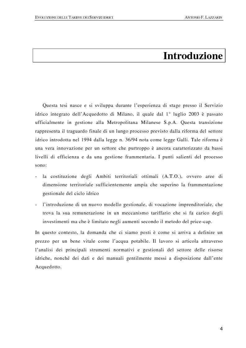 Anteprima della tesi: L'evoluzione delle tariffe dei servizi idrici nell'ambito della riforma del settore (legge n. 36/94), Pagina 1
