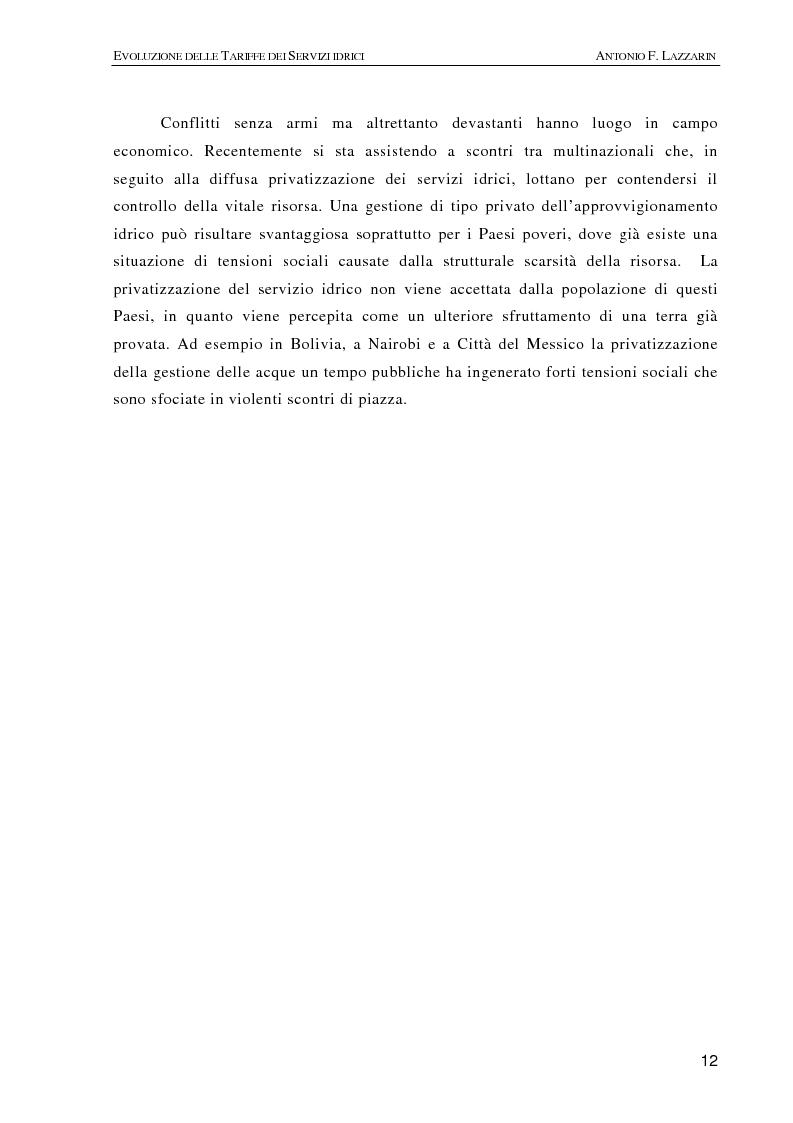 Anteprima della tesi: L'evoluzione delle tariffe dei servizi idrici nell'ambito della riforma del settore (legge n. 36/94), Pagina 9