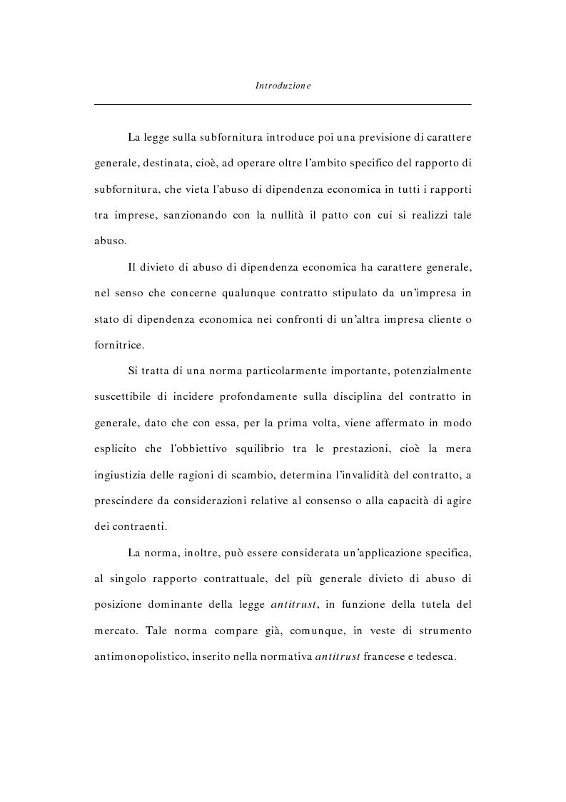 Anteprima della tesi: Abuso di dipendenza economica nella disciplina del contratto, Pagina 4