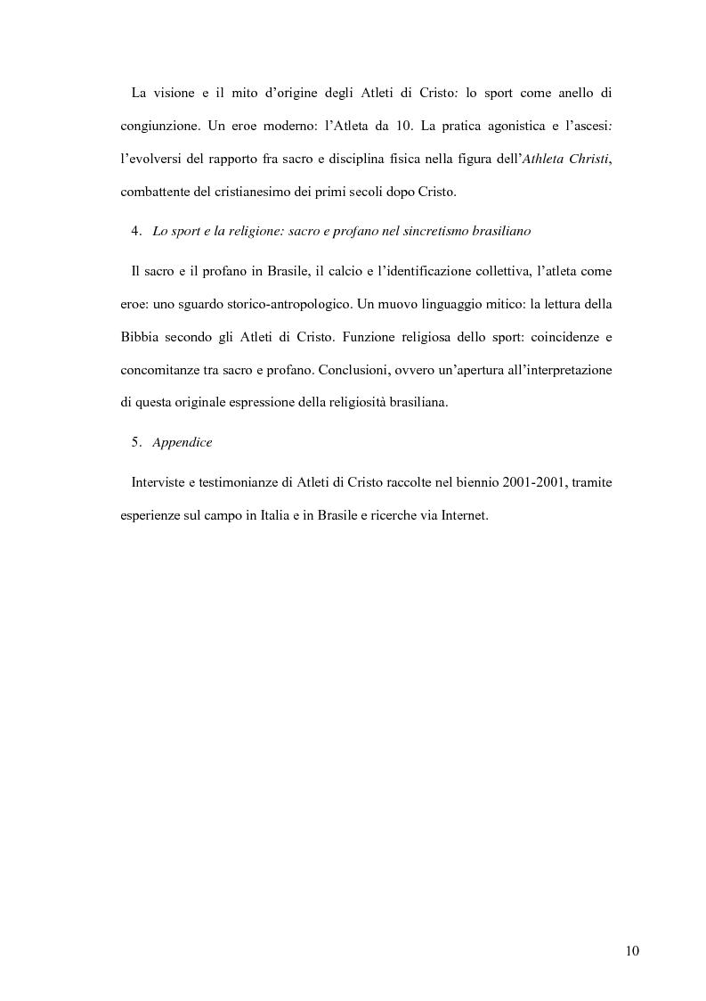 Anteprima della tesi: Atleti di Cristo. Tra sacro e profano, un movimento salvifico espresso dalla religiosità brasiliana, Pagina 7