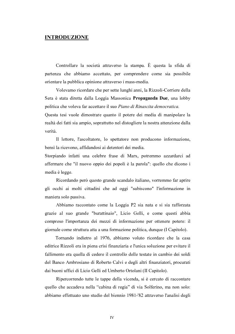 Anteprima della tesi: ''Il Potere è nei media''. La P2 e l'editoria nella stampa italiana e inglese, Pagina 1