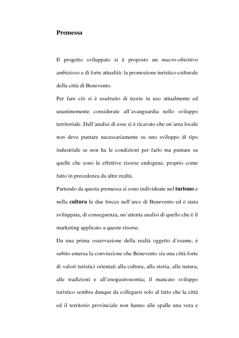 Anteprima della tesi: Lo sviluppo territoriale e l'importanza delle risorse locali: piano di marketing turistico-culturale della città di Benevento, Pagina 1