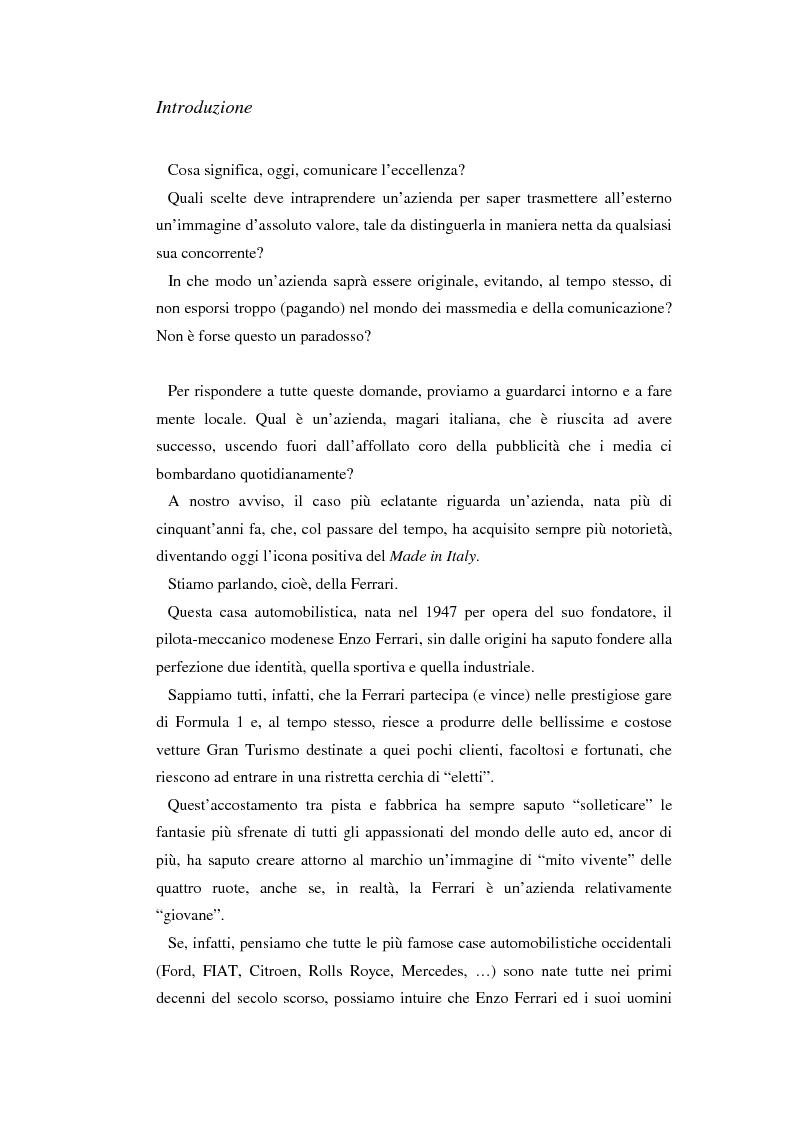 Anteprima della tesi: Comunicare l'immagine di eccellenza - Il caso Ferrari, Pagina 1