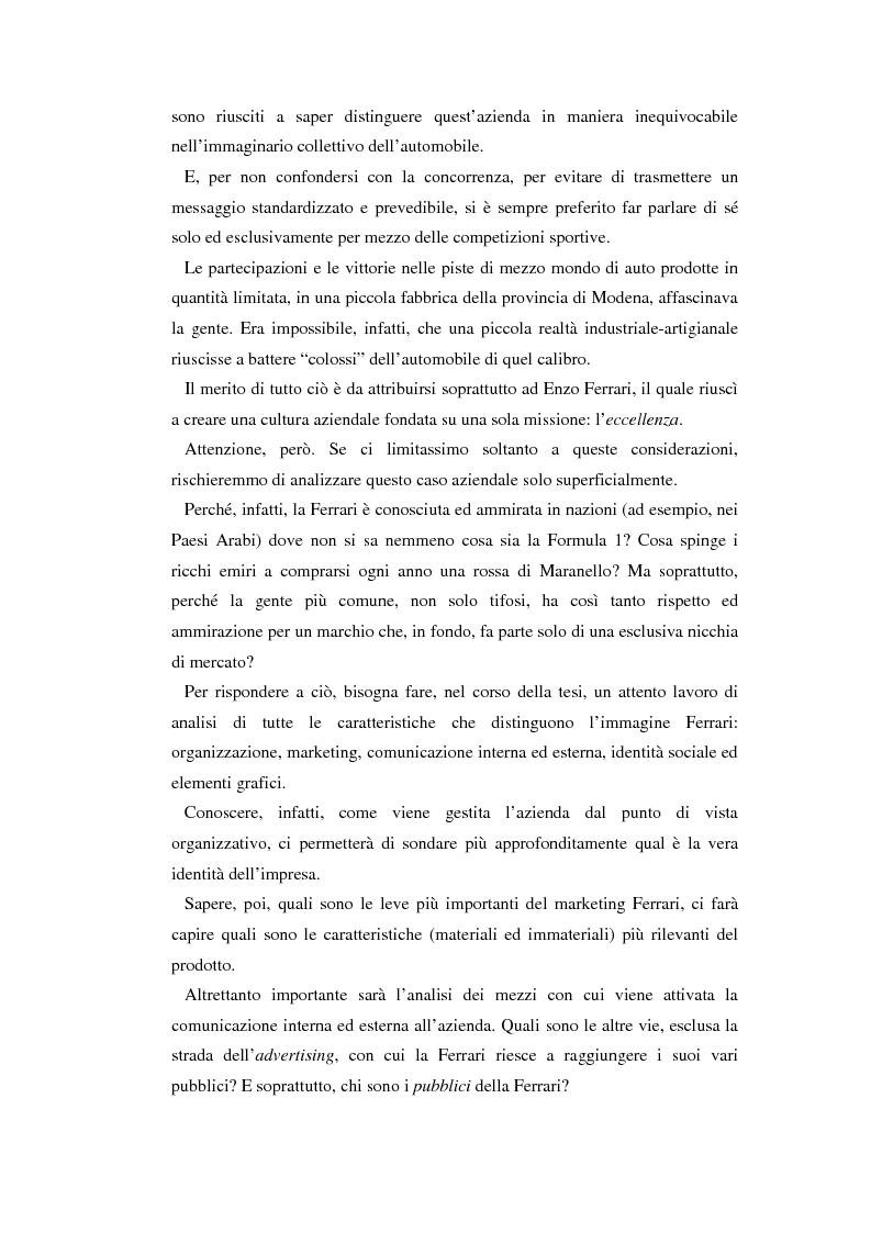 Anteprima della tesi: Comunicare l'immagine di eccellenza - Il caso Ferrari, Pagina 2