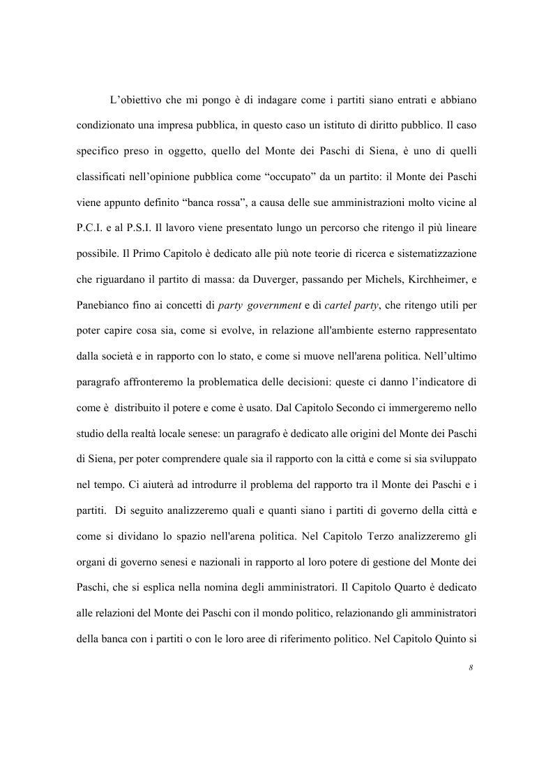 Anteprima della tesi: Partiti e imprese pubbliche - Il caso del Monte dei Paschi di Siena, Pagina 4
