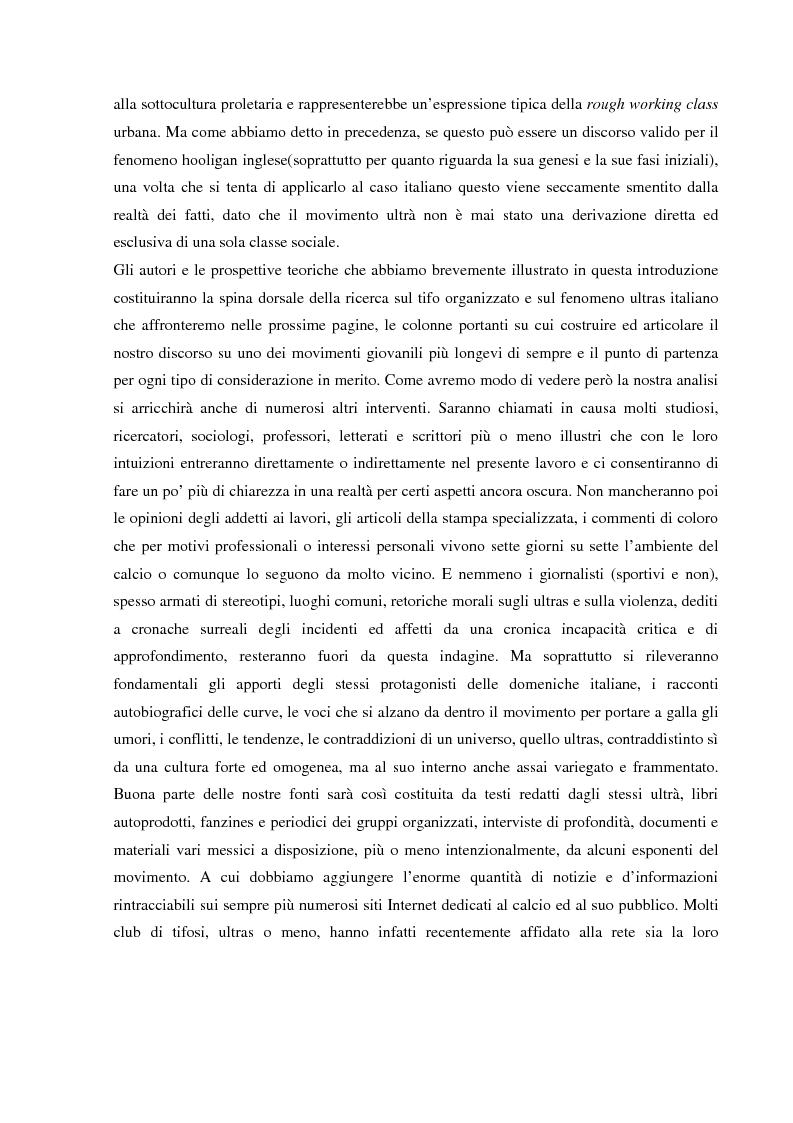 Anteprima della tesi: Tifo organizzato e identità collettiva. Il fenomeno ultras nel calcio, Pagina 13