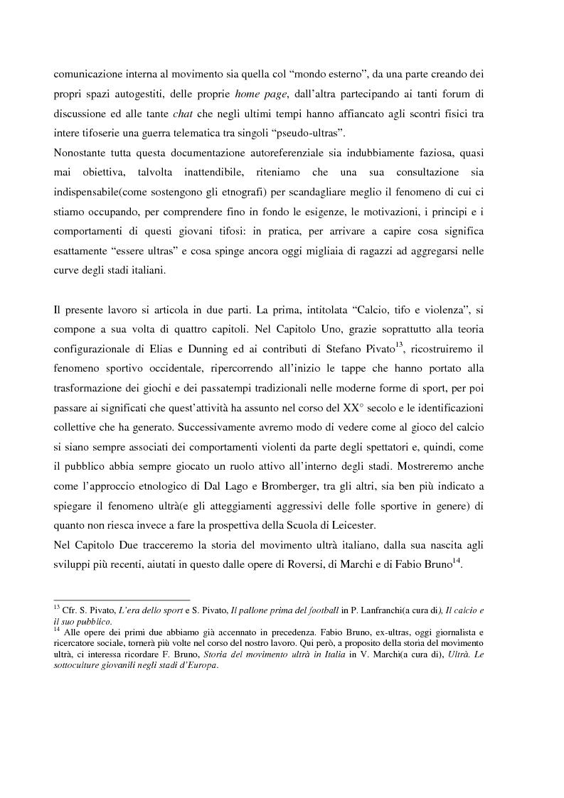 Anteprima della tesi: Tifo organizzato e identità collettiva. Il fenomeno ultras nel calcio, Pagina 14