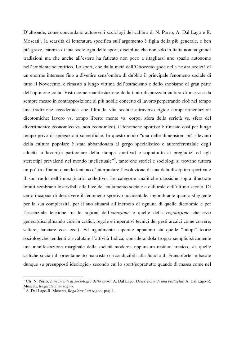 Anteprima della tesi: Tifo organizzato e identità collettiva. Il fenomeno ultras nel calcio, Pagina 4