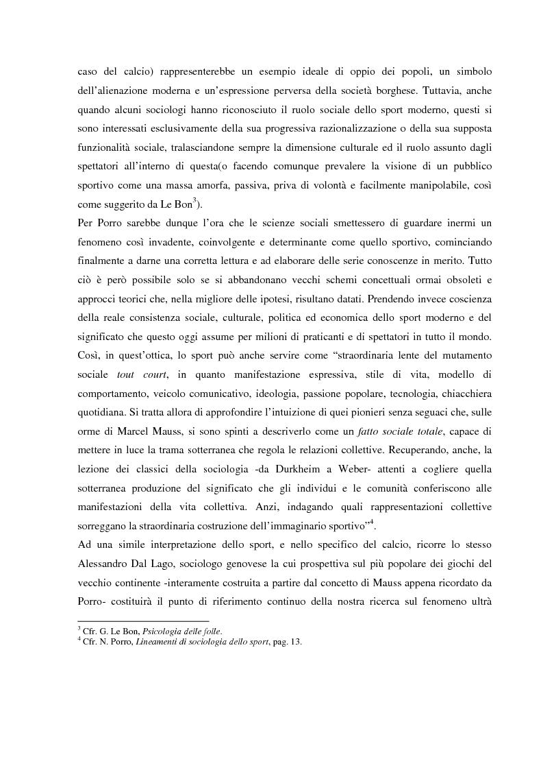 Anteprima della tesi: Tifo organizzato e identità collettiva. Il fenomeno ultras nel calcio, Pagina 5