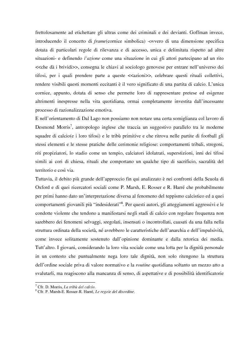 Anteprima della tesi: Tifo organizzato e identità collettiva. Il fenomeno ultras nel calcio, Pagina 7
