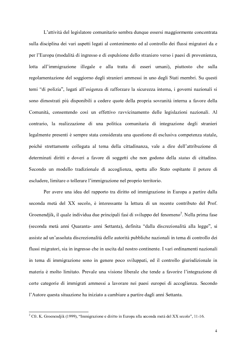 Anteprima della tesi: L'integrazione dei cittadini dei paesi terzi in Europa, Pagina 2