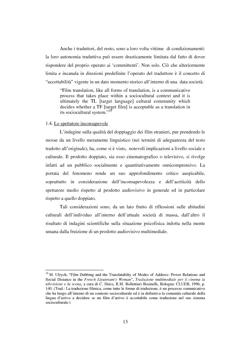 Anteprima della tesi: La traduzione del testo filmico: ''Die bleierne Zeit'' e la sua versione italiana a confronto, Pagina 10