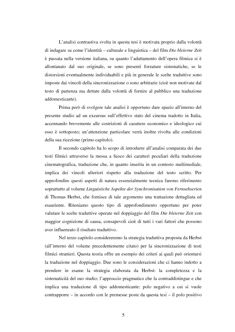 Anteprima della tesi: La traduzione del testo filmico: ''Die bleierne Zeit'' e la sua versione italiana a confronto, Pagina 2