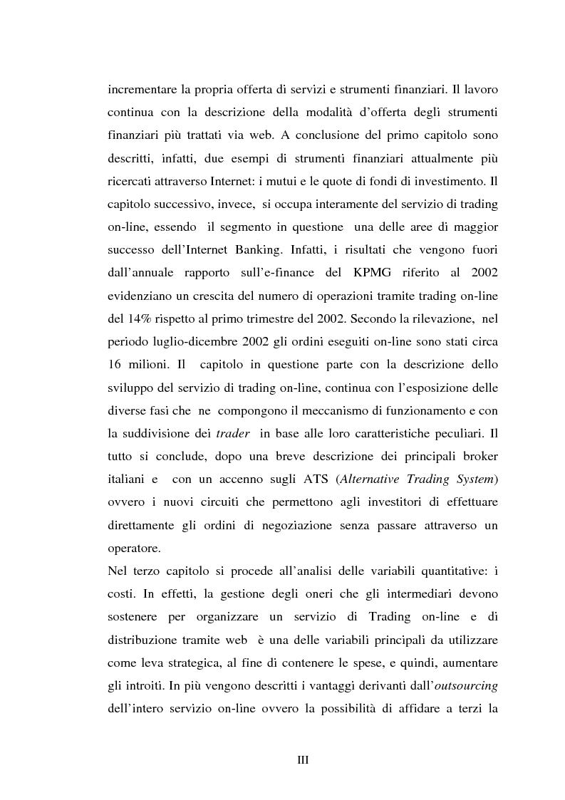 Anteprima della tesi: Il trading on-line e la distribuzione degli strumenti finanziari attraverso il web: analisi delle variabili fondamentali per la realizzazione di un vantaggio competitivo, Pagina 3
