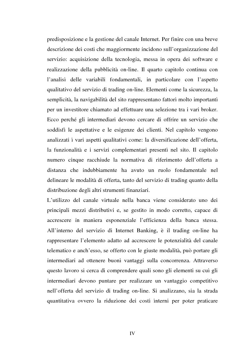 Anteprima della tesi: Il trading on-line e la distribuzione degli strumenti finanziari attraverso il web: analisi delle variabili fondamentali per la realizzazione di un vantaggio competitivo, Pagina 4