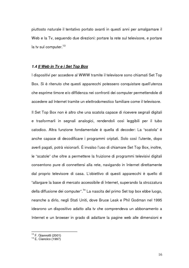 Anteprima della tesi: Strategie comunicative delle televisioni sul web, Pagina 14