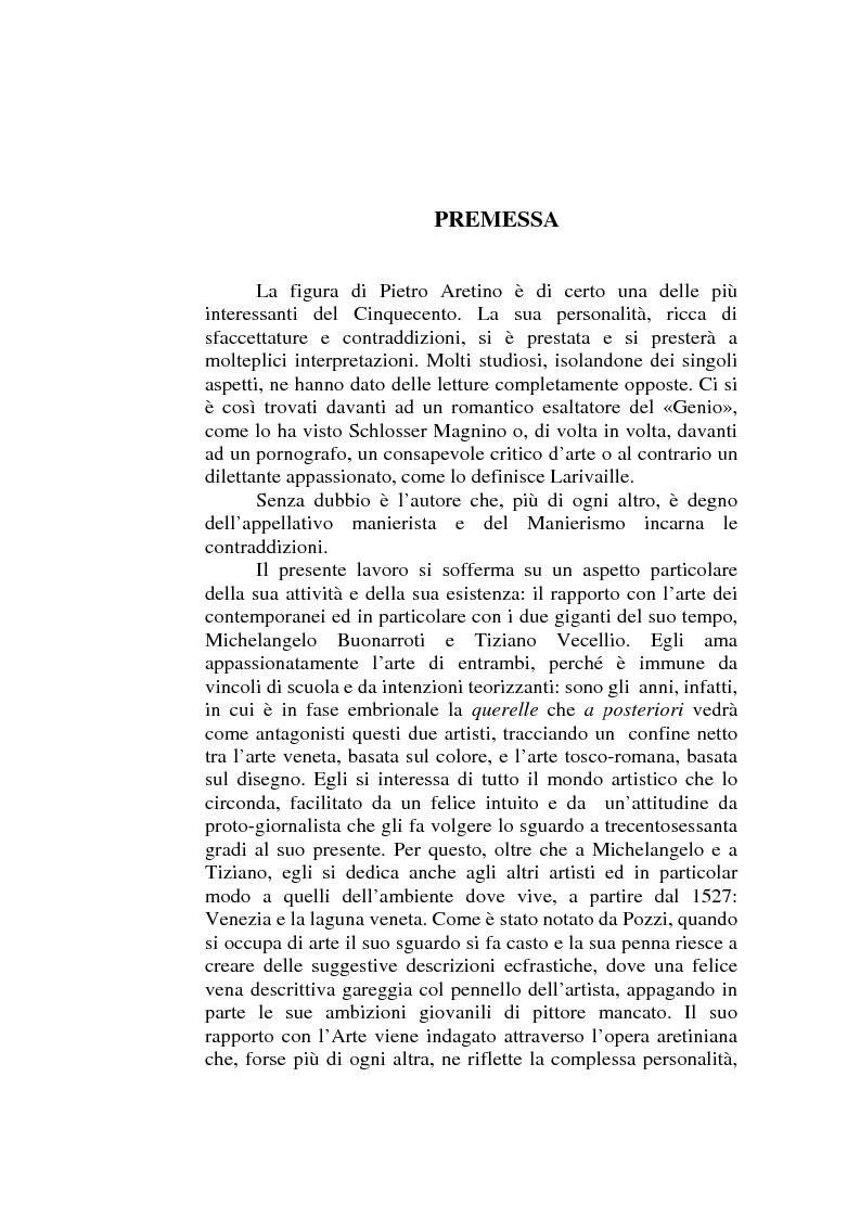 Anteprima della tesi: ''Io non son cieco ne la pittura'' Pietro Aretino e le arti figurative, Pagina 1