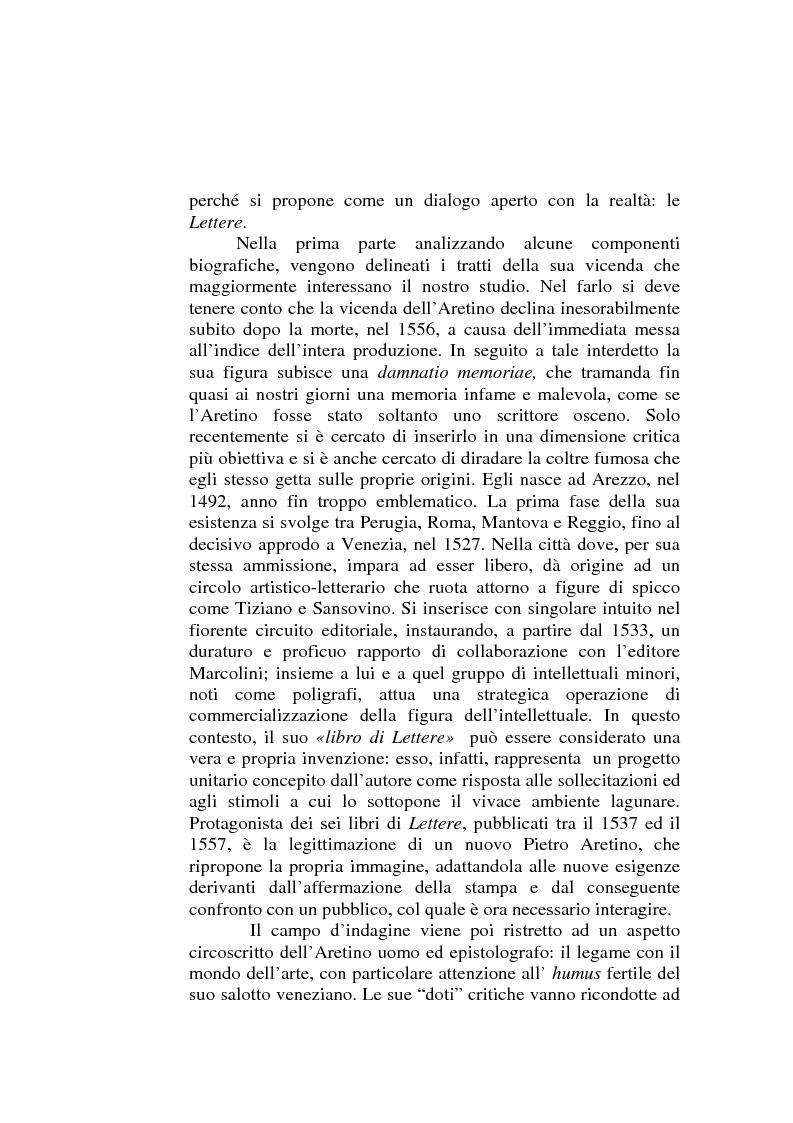 Anteprima della tesi: ''Io non son cieco ne la pittura'' Pietro Aretino e le arti figurative, Pagina 2