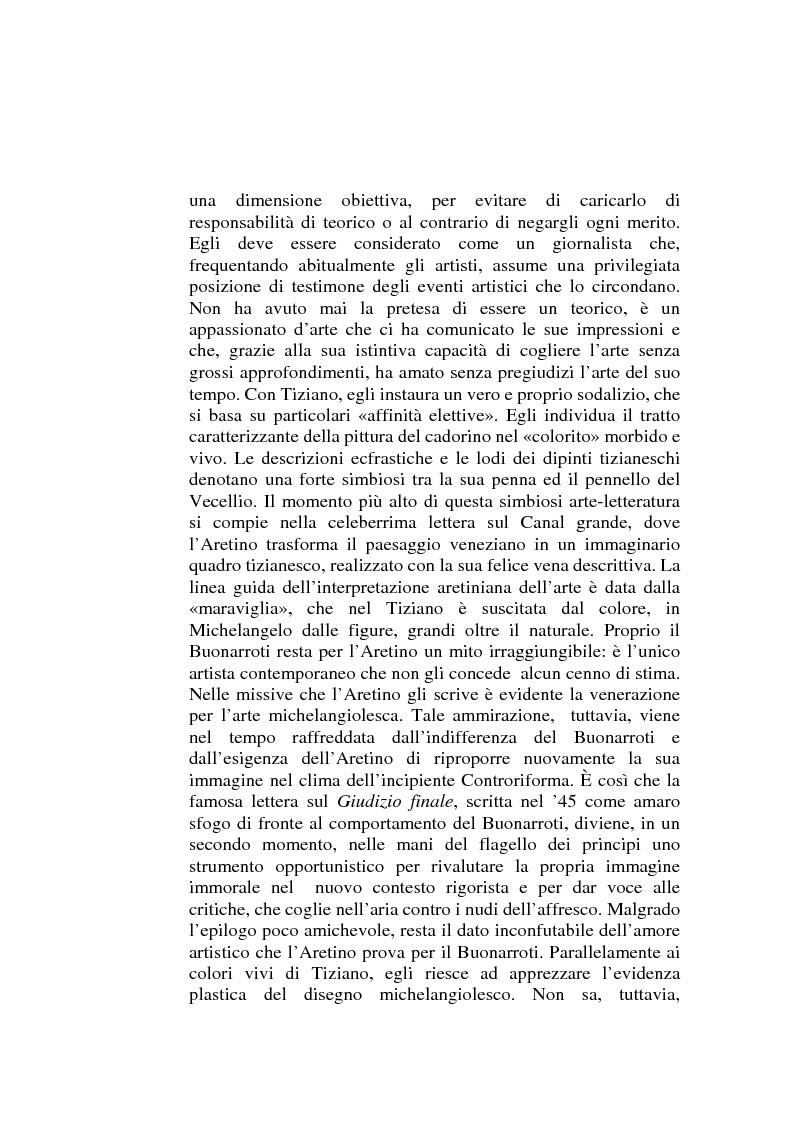 Anteprima della tesi: ''Io non son cieco ne la pittura'' Pietro Aretino e le arti figurative, Pagina 3