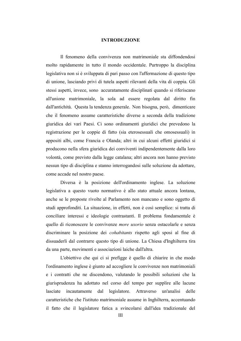Anteprima della tesi: Il contratto di convivenza nel common law inglese, Pagina 1