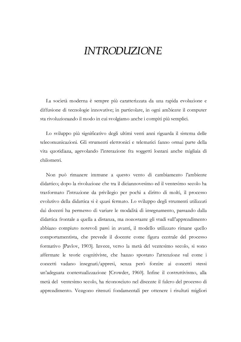 Anteprima della tesi: Apprendere a distanza: analisi, progetto e sviluppo del server di MultiCom II, Pagina 1
