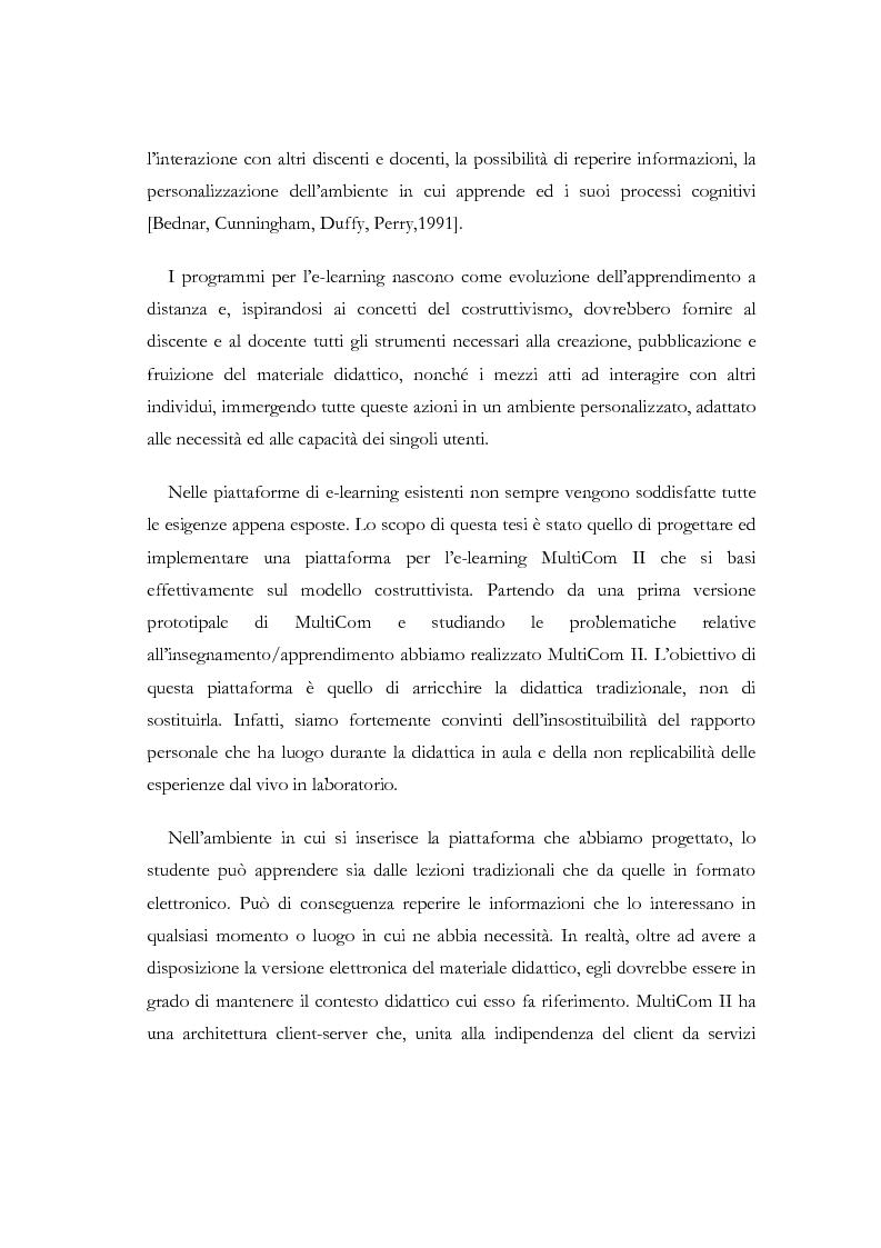 Anteprima della tesi: Apprendere a distanza: analisi, progetto e sviluppo del server di MultiCom II, Pagina 2