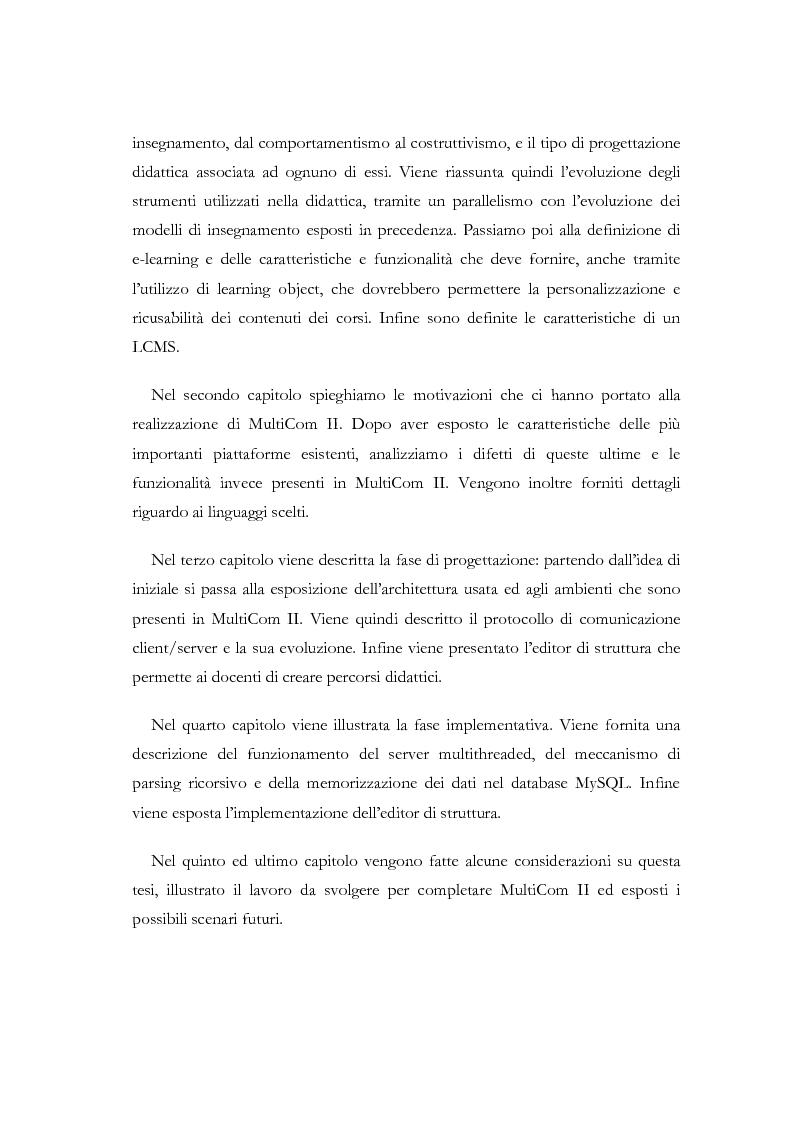 Anteprima della tesi: Apprendere a distanza: analisi, progetto e sviluppo del server di MultiCom II, Pagina 4