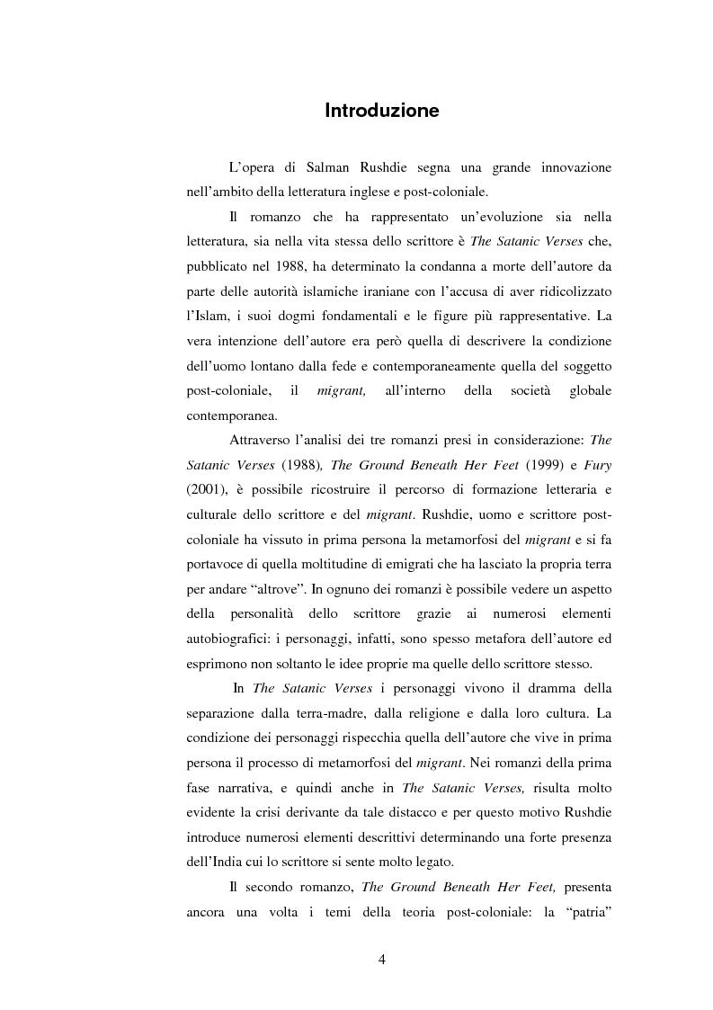 Anteprima della tesi: L'onirico, il visionario e l'ossessivo in Salman Rushdie: tematiche post-coloniali, Pagina 1