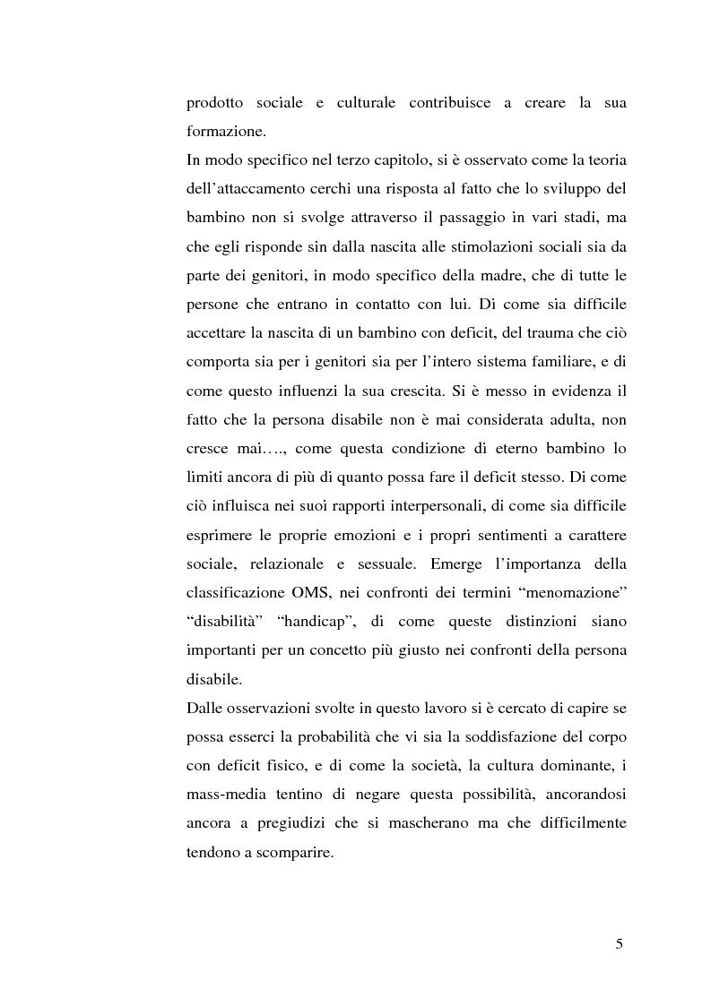 Anteprima della tesi: Percezione di sé e disabilità: Sé, corpo e ambiente, Pagina 3