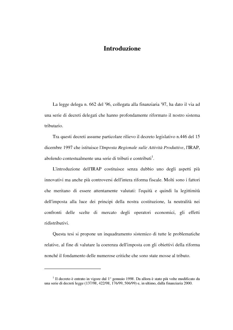 Anteprima della tesi: Valutazione degli effetti economici dell'Imposta Regionale sulle Attività Produttive (Irap), Pagina 1