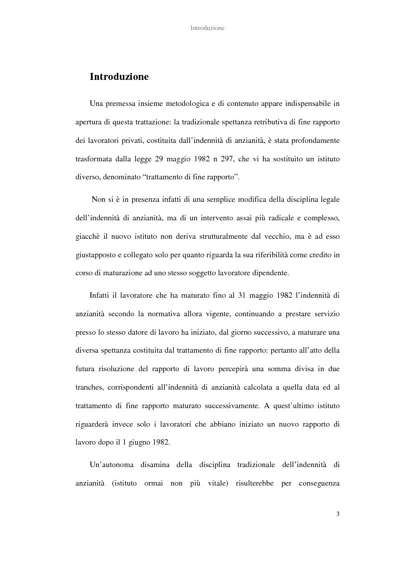 Anteprima della tesi: La determinazione del trattamento di fine rapporto nella giurisprudenza, Pagina 1