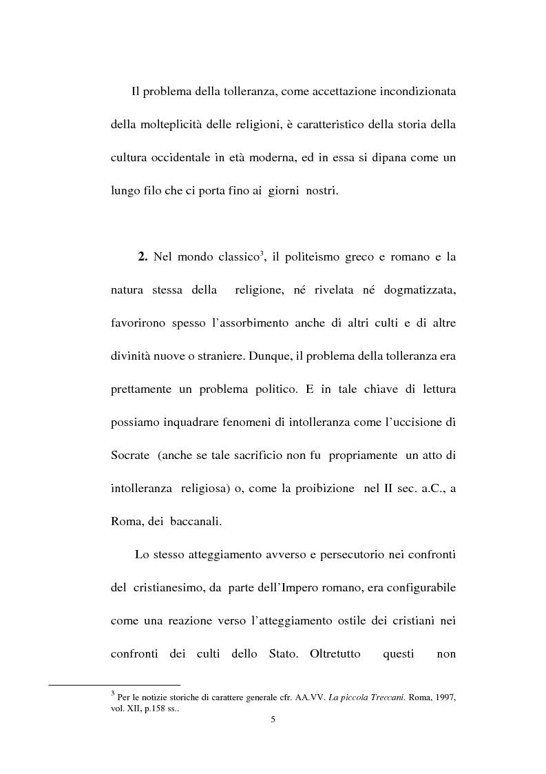 Anteprima della tesi: Il fondamento della tolleranza religiosa nell'ordinamento italiano e negli atti e documenti dell'Unesco, Pagina 3