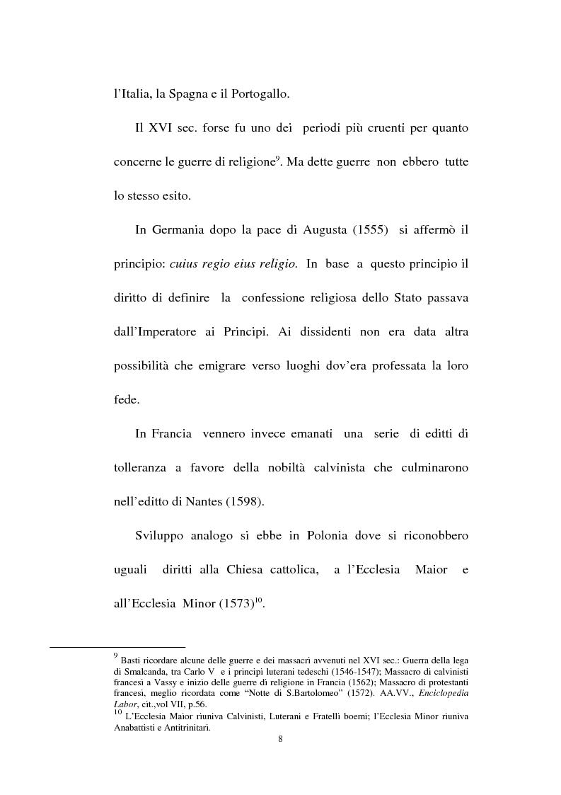 Anteprima della tesi: Il fondamento della tolleranza religiosa nell'ordinamento italiano e negli atti e documenti dell'Unesco, Pagina 6