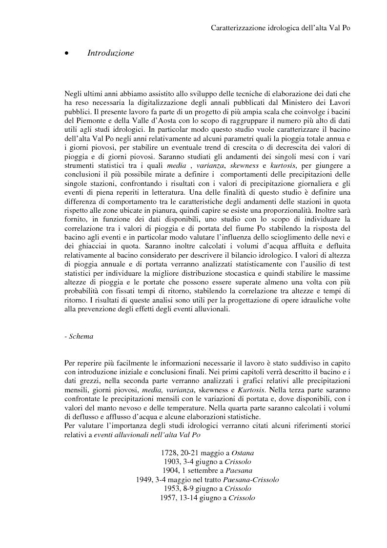 Anteprima della tesi: Caratterizzazione idrologica dell'Alta Val Po, Pagina 1