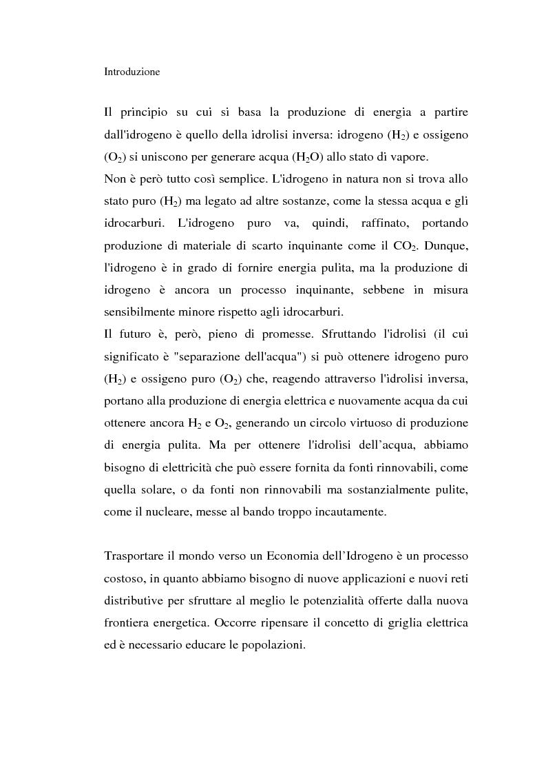 Anteprima della tesi: L'idrogeno: il vettore energetico del futuro. Prospettive di utilizzo nelle applicazioni stazionarie, Pagina 4