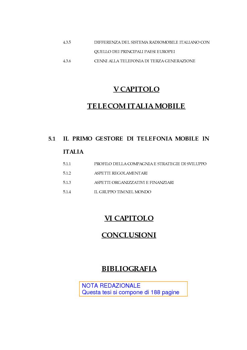 Indice della tesi: Il processo di liberalizzazione delle telecomunicazioni: il caso della telefonia mobile, Pagina 4
