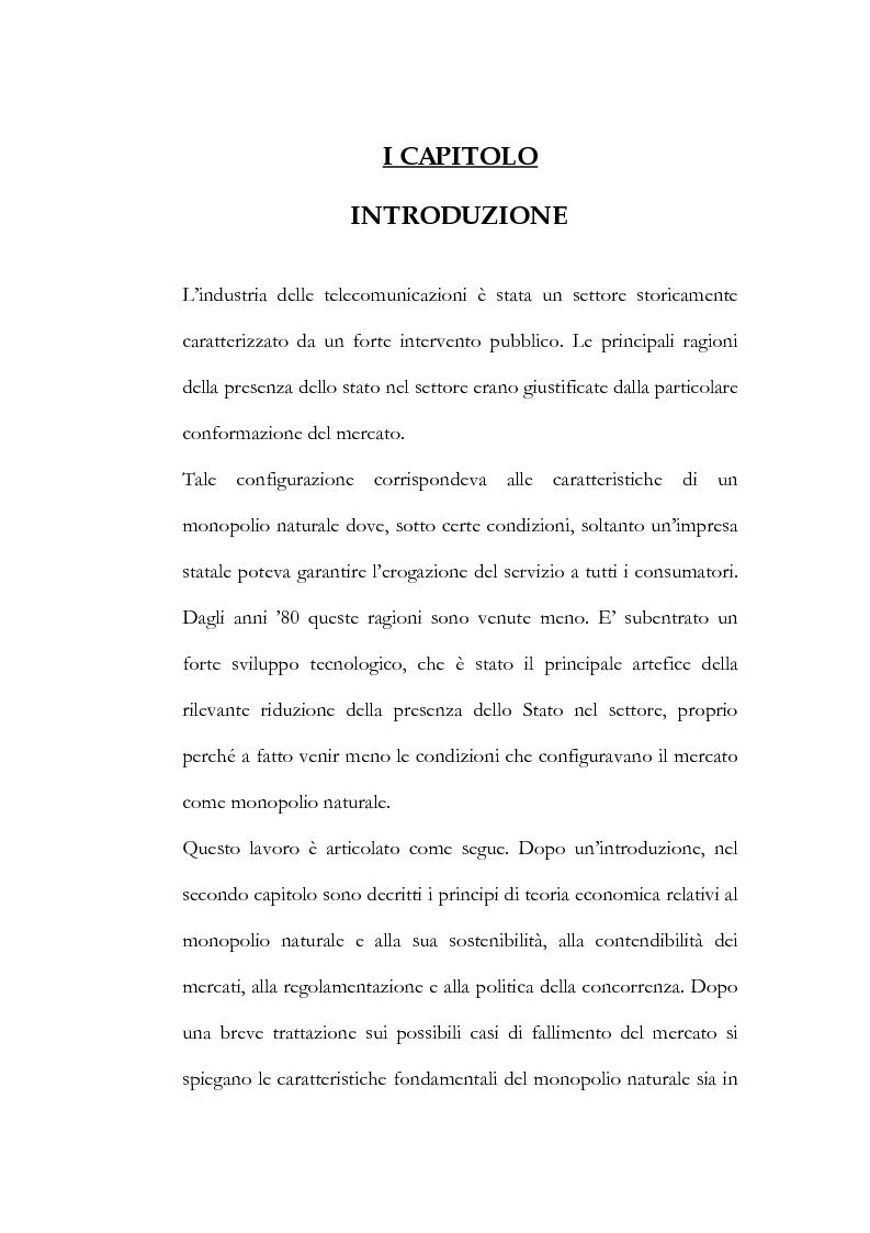 Anteprima della tesi: Il processo di liberalizzazione delle telecomunicazioni: il caso della telefonia mobile, Pagina 1