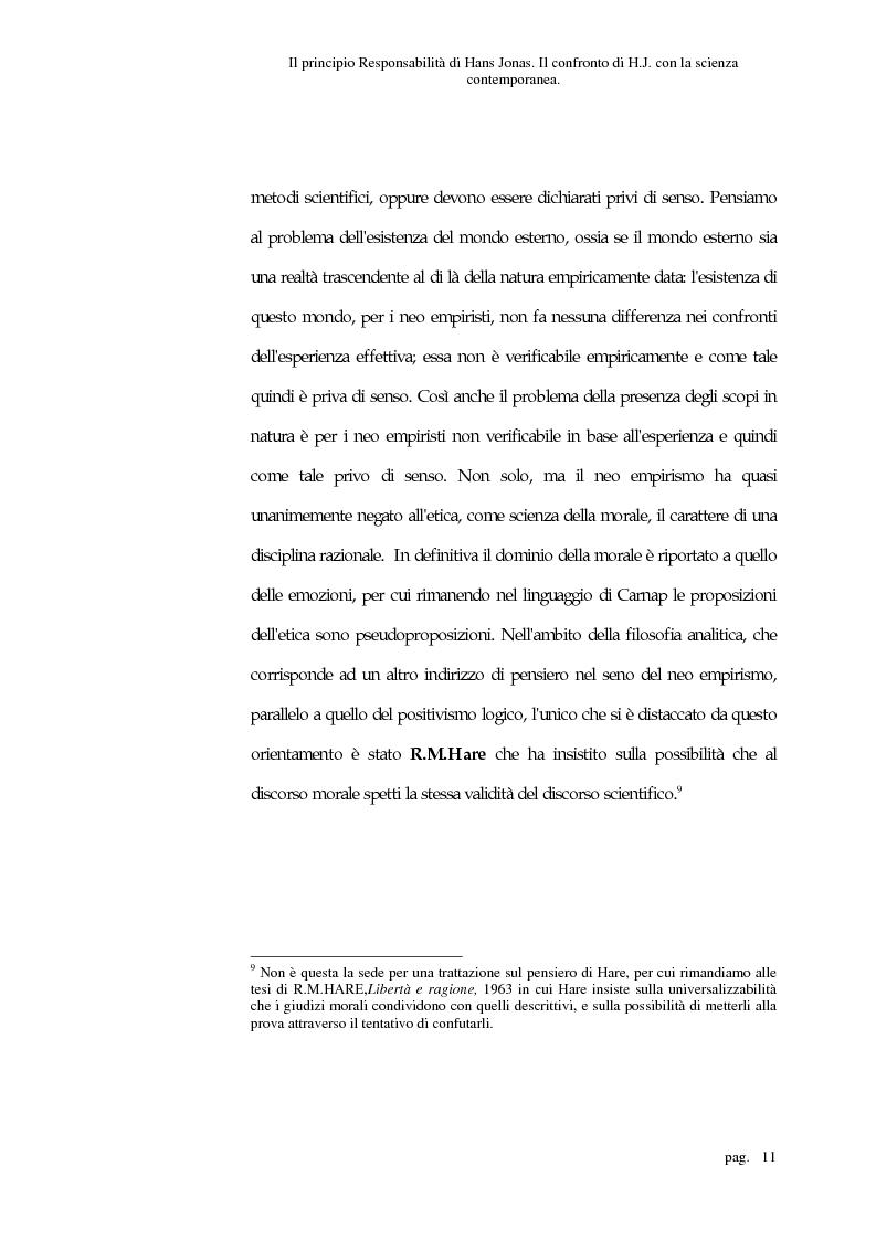 Anteprima della tesi: Il principio responsabilità di Hans Jonas. Il confronto di H. J. con la scienza contemporanea, Pagina 11