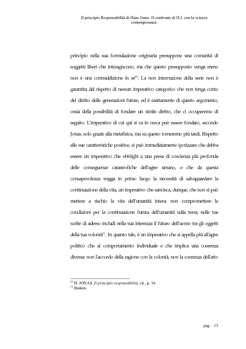 Anteprima della tesi: Il principio responsabilità di Hans Jonas. Il confronto di H. J. con la scienza contemporanea, Pagina 13