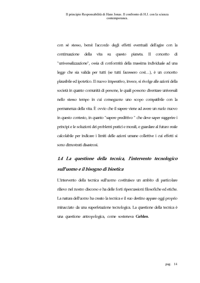 Anteprima della tesi: Il principio responsabilità di Hans Jonas. Il confronto di H. J. con la scienza contemporanea, Pagina 14