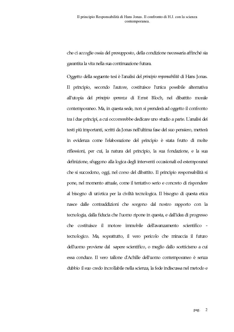Anteprima della tesi: Il principio responsabilità di Hans Jonas. Il confronto di H. J. con la scienza contemporanea, Pagina 2