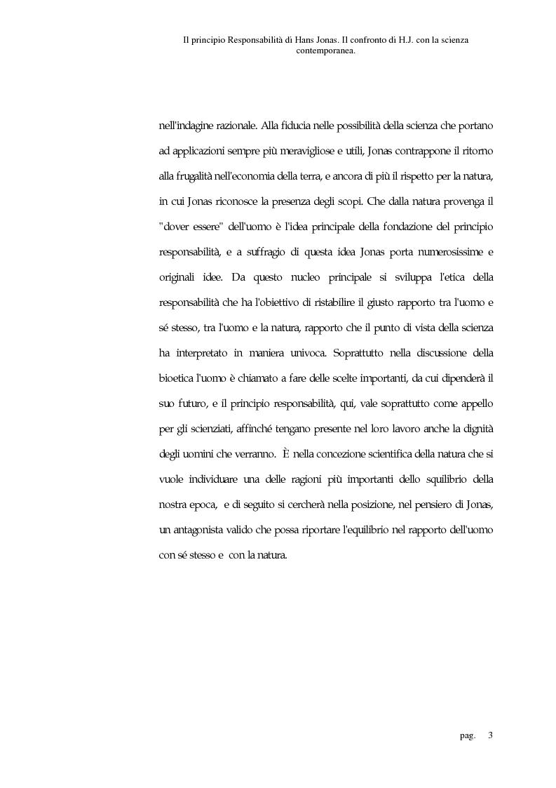 Anteprima della tesi: Il principio responsabilità di Hans Jonas. Il confronto di H. J. con la scienza contemporanea, Pagina 3