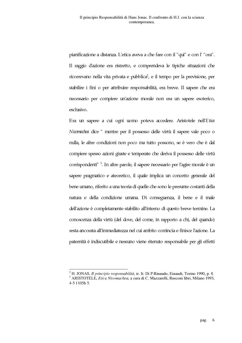 Anteprima della tesi: Il principio responsabilità di Hans Jonas. Il confronto di H. J. con la scienza contemporanea, Pagina 6